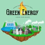 Concept of alternative energy green power, environment save, renewable turbine energy, wind and solar ecology Stock Photos