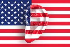 Concept américain d'intelligence, oreille sur le drapeau des Etats-Unis rendu 3d illustration libre de droits