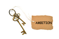 The concept of 'ambition' is translated by key and silver key ch Royalty Free Stock Photography
