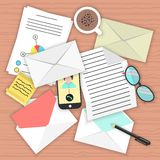 Concept analysis of correspondence on the table. Top view of desk background with smartphone, open and closed envelopes, office objects, coffee and documents Stock Photography
