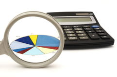 Concept of analyzing in office with magnifier,calculator,graph Stock Image