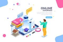 Concept anglais de cours d'apprentissage en ligne de langue d'école illustration stock