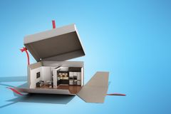 Concept apartment as a gift Kitchen interior in an open box 3d r. Ender on blue Royalty Free Stock Images
