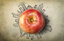 Concept with apple and doodles Stock Photography