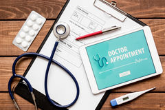 Concept of appointment to doctor online top view Stock Photos