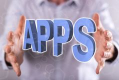 Concept of apps. Apps concept between hands of a man in background Royalty Free Stock Images