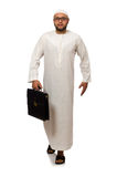 Concept with arab man isolated. On white Stock Photo