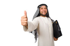 Concept with arab man isolated on white Stock Photography