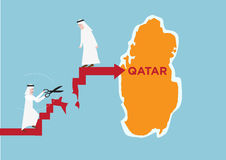 Concept of Arab Neighbors of Qatar cutting or severing ties or trade with them. Editable Clip Art. stock illustration
