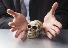 Concept of archaelogy business. Science or medicine in hands of professionals Royalty Free Stock Images