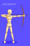 Concept of Archery with wooden human mannequin Stock Images