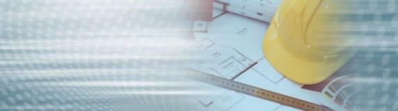 Concept architectural de projet Drapeau panoramique photographie stock