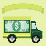 Concept of armored car. Money shown in a showcase in the back of a truck. Ribbon to enter text. Concept Royalty Free Stock Photos