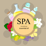 The concept of aromatherapy and spa. With bottles of essential oils and flowers - rose, orange, jasmine, ylang ylang, lavender, vanilla Royalty Free Stock Photography