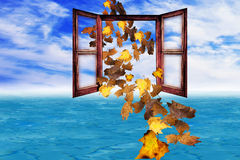 Concept arrival autumn leaves Stock Images