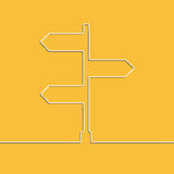 The concept arrow sign of choosing direction the road junction. Creative linear direction arrow sign. The concept of choosing the direction of the road junction Stock Photography