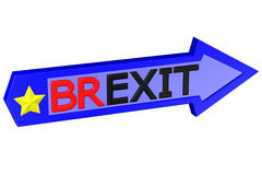 Concept: arrow with the word Brexit. 3D rendering. Concept: arrow with the word Brexit, isolated on white background. 3D rendering Royalty Free Stock Photo