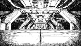 Concept Art Cartoon Drawing of Abstract Sci Fi Futuristic Space Ship Corridor Design. Comic pen and ink cartoon concept art drawing of dark abstract sci fi Stock Images