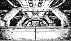 Concept Art Cartoon Drawing de conception futuriste abstraite de couloir de vaisseau spatial de Sci fi illustration de vecteur
