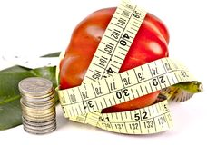 Concept art depicting money with diet. A concept art showing money with dieting tape stock photo