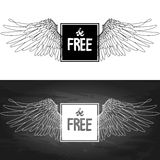 Concept art with slogan and wings Stock Photography