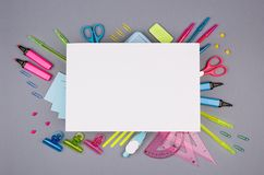 Concept art stationery background with blank letterhead paper for text for design and advertising- colored office accessories. Concept art stationery background royalty free stock images