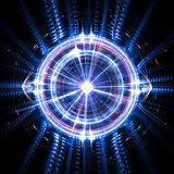 Concept of an artificial quantum intelligence with an electronic eye and waves stock illustration