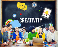 Concept artistique d'innovation d'inspiration d'imagination de créativité Image libre de droits