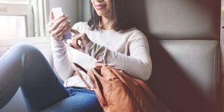 Concept asiatique de Madame Traveling Commute Train Photographie stock libre de droits