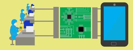 Concept assemblageproductie van tabletten Royalty-vrije Stock Foto's
