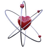 Concept of the atom of love. Made in 3d with clipping path Stock Photo