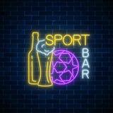 Concept au néon rougeoyant de barre de sport sur le fond foncé de mur de briques Bar avec l'enseigne vivante d'émission de sport Image libre de droits