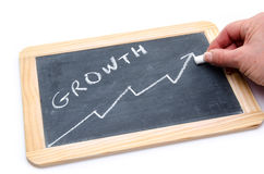 Concept au sujet de croissance sur une ardoise Image stock