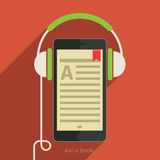 Concept of audio book. Book with headphones, vector illustration, flat design royalty free illustration