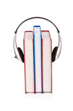 Concept of audio books with earphones Stock Image
