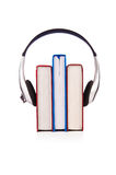Concept of audio books with earphones Royalty Free Stock Photo
