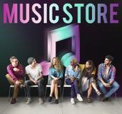 Concept audio de graphique d'icône de note de musique de magasin Image stock