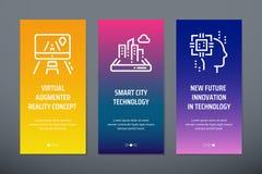 Concept augmenté virtuel de réalité, technologie futée de ville, nouvelle future innovation dans les cartes verticales de technol illustration libre de droits
