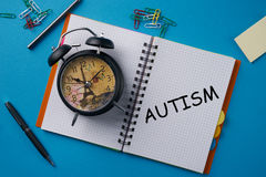 Concept of autism. Autism, Health Concept on blue table Stock Photo