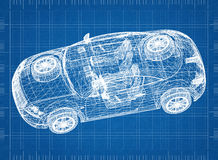 "Concept auto blauwdruk†""3D perspectief stock illustratie"