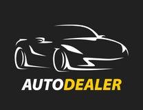 Concept auto dealer car logo with supercar sports vehicle silhouette. Original concept auto dealer car logo with supercar sports vehicle silhouette on black vector illustration
