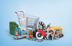 Concept of auto parts shopping. Royalty Free Stock Photos