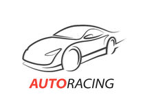 Concept auto racing car logo with supercar sports vehicle silhouette Stock Photo