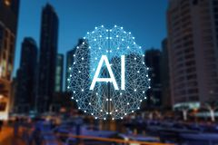 The concept of Autonomous things and smart city. Social infrastructure under the control of AIArtificial Intelligence. ICTInformation Communication Technology