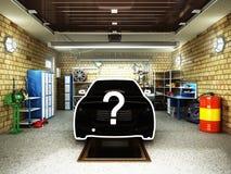concept autoselectie Front View van een Garage met een binnen 3D auto Stock Foto