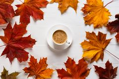 The concept of autumn, bright colors and cheerfulness. A mug of coffee with milk on a white wooden table in a. Composition with autumn maple leaves royalty free stock photo