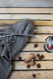 Concept autumn cosiness. Autumn comfort concept, still life of candlestick and knitting royalty free stock image
