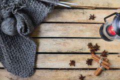 Concept autumn cosiness. Autumn comfort concept, still life of candlestick and knitting stock images