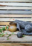 Concept autumn cosiness. Autumn comfort concept, still life mug and knitting stock image