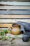 Concept autumn cosiness. Autumn comfort concept, still life mug and knitting royalty free stock photos